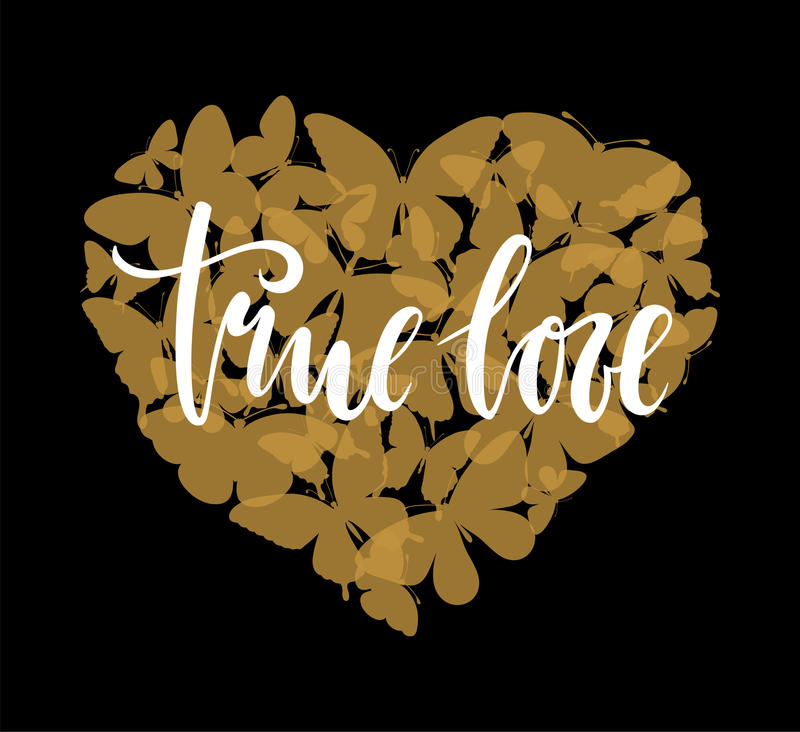 True love Hand drawn calligraphy and brush pen lettering with gold heart with butterfly. Design for holiday greeting card and invitation of the wedding vector illustration