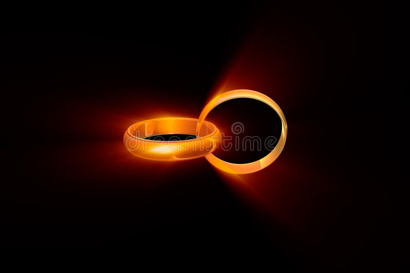 True love. Two wedding rings on a black background. Used a glow effect royalty free illustration
