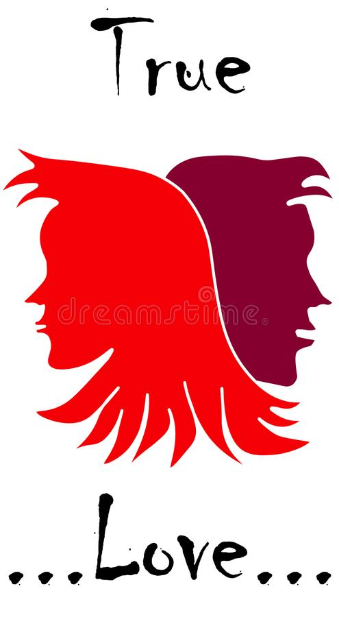 True Loving cute couple faces in red and dark red colours royalty free illustration