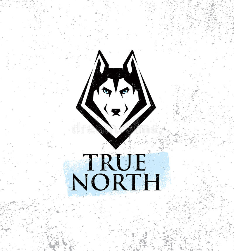 True North Active Lifestyle Outdoor Club. Husky Dog Face Illustration Strong Sign Concept On Rough Background. True North Active Lifestyle Outdoor Club. Husky royalty free illustration