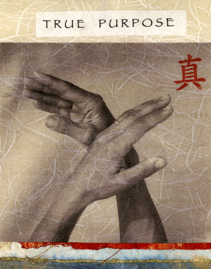 True Purpose. Upraised hands in gentle motion. The red character means true