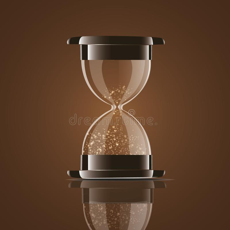 True transparent sand hourglass isolated on white background. Simple and elegant sand-glass timer. Sand clock icon 3d stock illustration