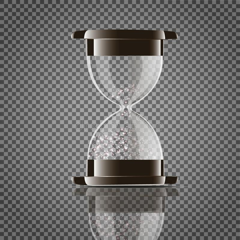 True transparent sand hourglass isolated on white background. Simple and elegant sand-glass timer. Sand clock icon 3d. Illustration.. Vector royalty free illustration
