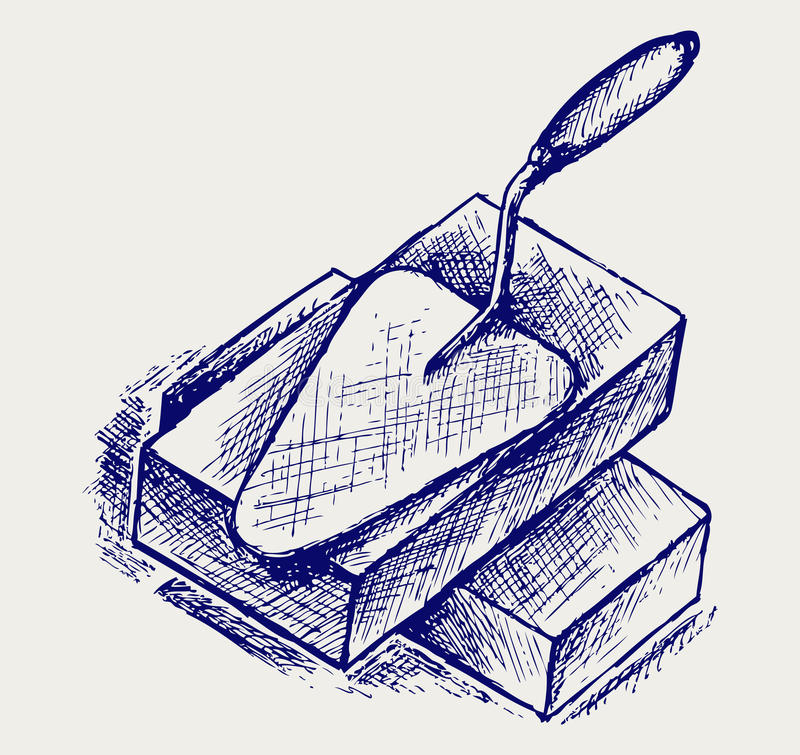 Truelle et briques illustration de vecteur