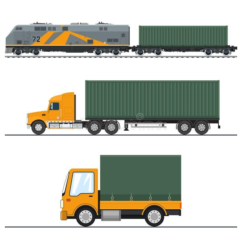 Trueque de la carga de tierra y servicios ferroviarios ilustración del vector