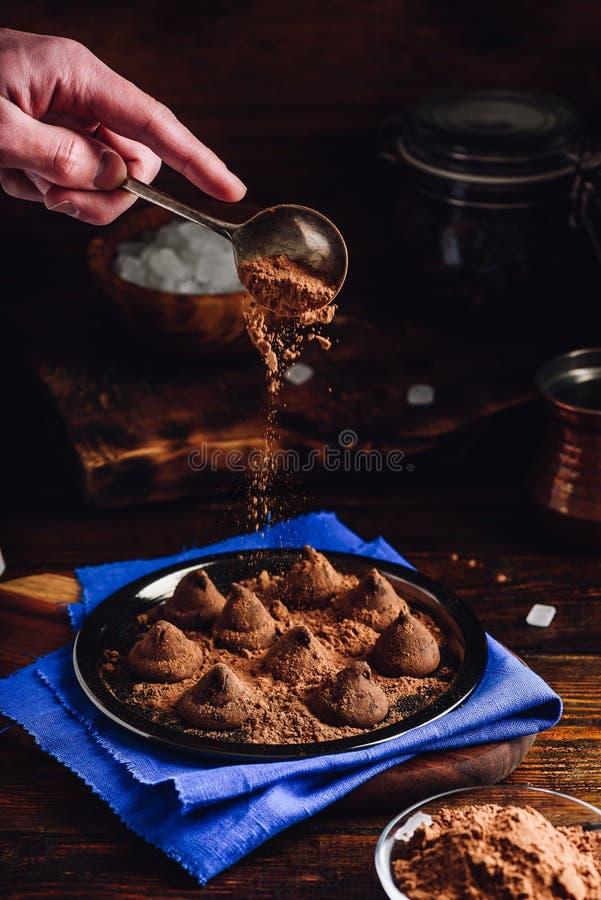 Trufas caseiros com chocolate escuro imagens de stock royalty free