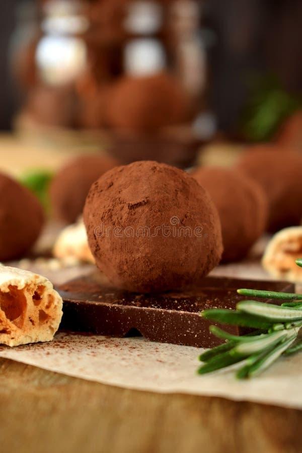 Trufas de chocolate asperjadas con el polvo de cacao imagen de archivo