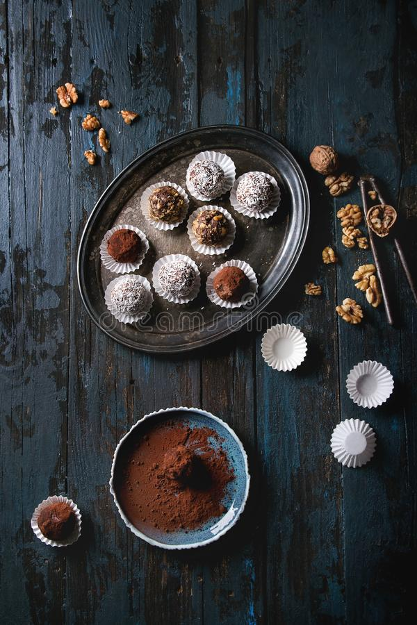 Trufas de chocolate Handmade foto de stock royalty free