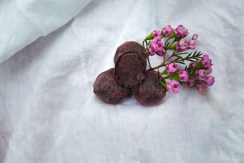 Trufas de chocolate hechas en casa Dulces hechos a mano fotografía de archivo libre de regalías