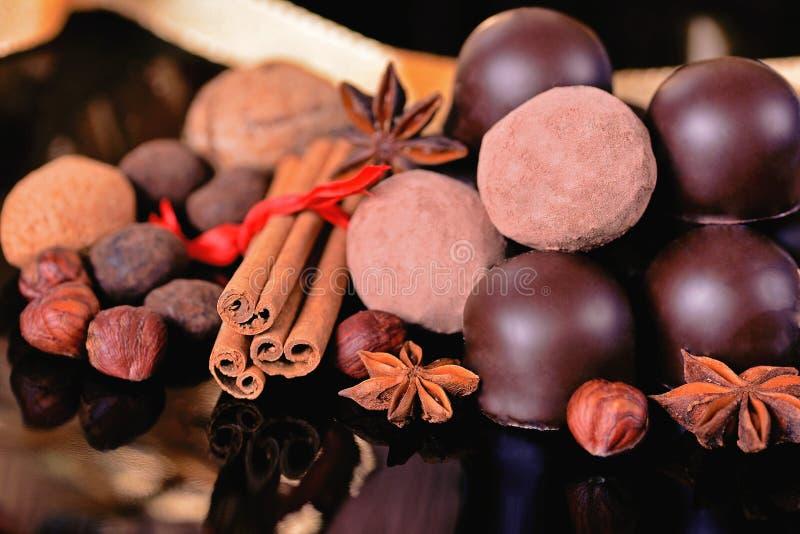 Trufas y chocolates de chocolate con las especias foto de archivo