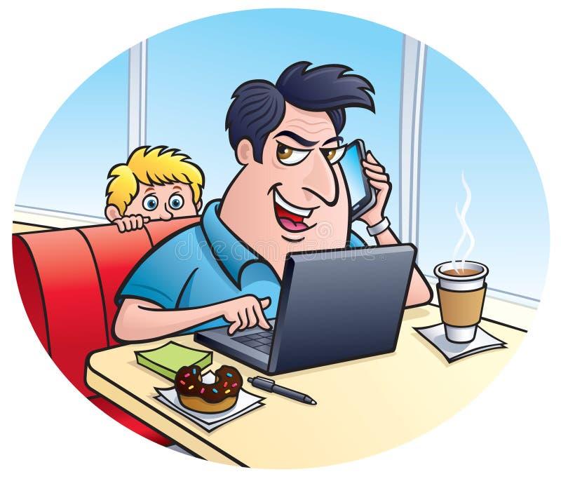 Truffatore su un computer portatile illustrazione di stock