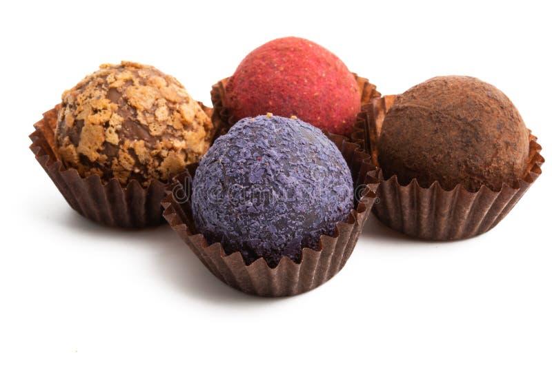 Truffes de chocolat d'isolement photographie stock