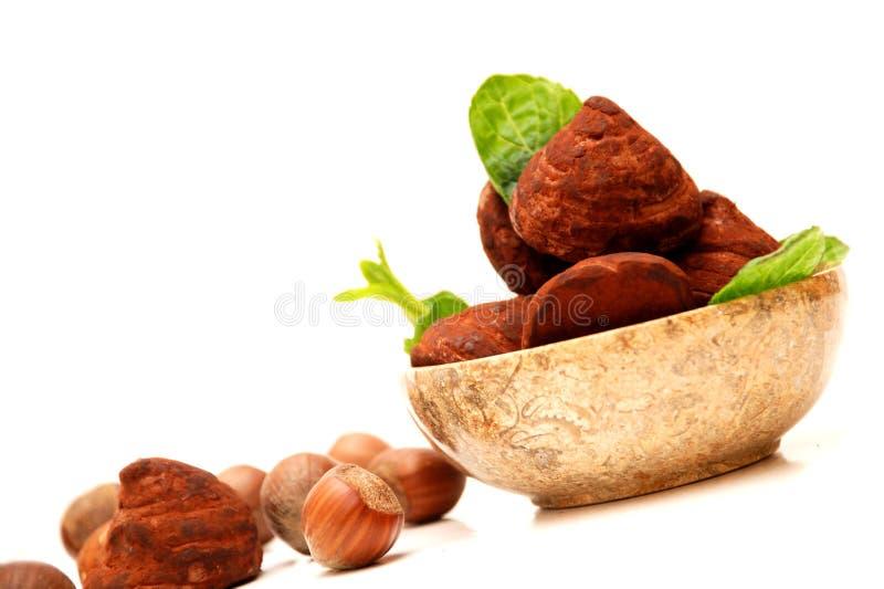 Truffes de chocolat dans une cuvette ronde photographie stock libre de droits