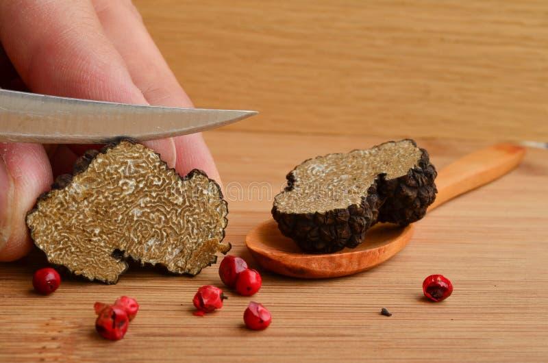 Truffle cutting stock photo