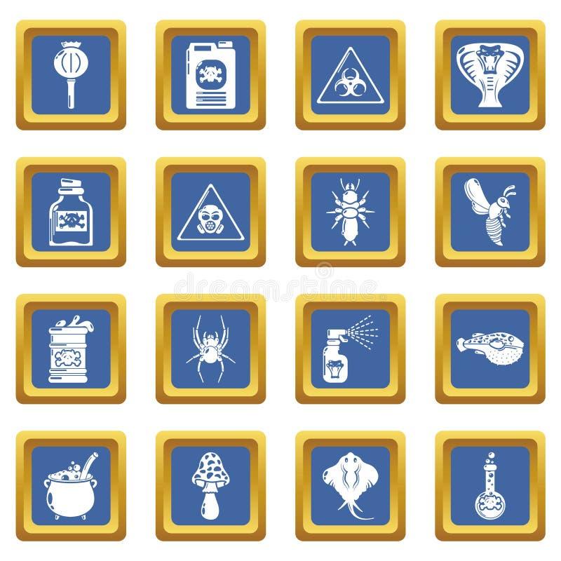 Truje niebezpieczeństwo toksyczne ikony ustawiają błękita kwadratowego wektor royalty ilustracja