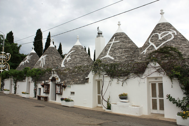 Trulli. The ancient and typical rural houses in Alberobello, region of Puglia, Italy stock photo