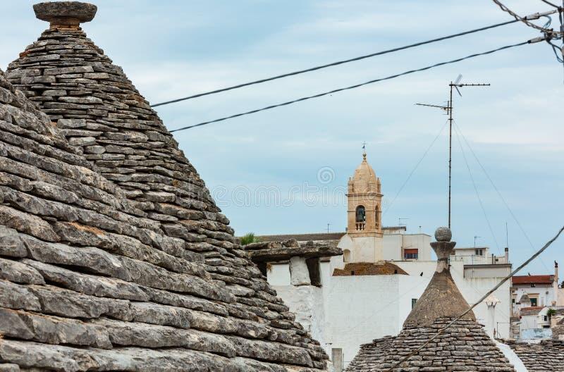Trulli abriga telhados em Alberobello, Itália fotos de stock