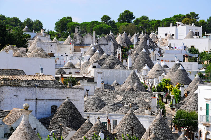 Trulli in Alberobello. Alberobello is a small town in the south of Italy. It is famous for the trulli houses. the town is part of the UNESCO world heritage site royalty free stock photo