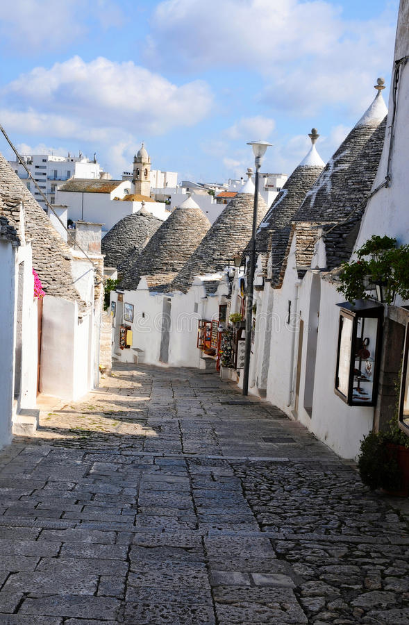 Trulli in Alberobello. Alberobello is a small town in the south of Italy. It is famous for the trulli houses. the town is part of the UNESCO world heritage site stock photo