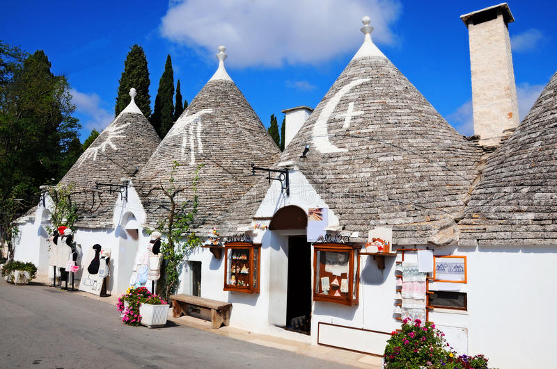 Trulli in Alberobello. Alberobello is a small town in the south of Italy. It is famous for the trulli houses. the town is part of the UNESCO world heritage site