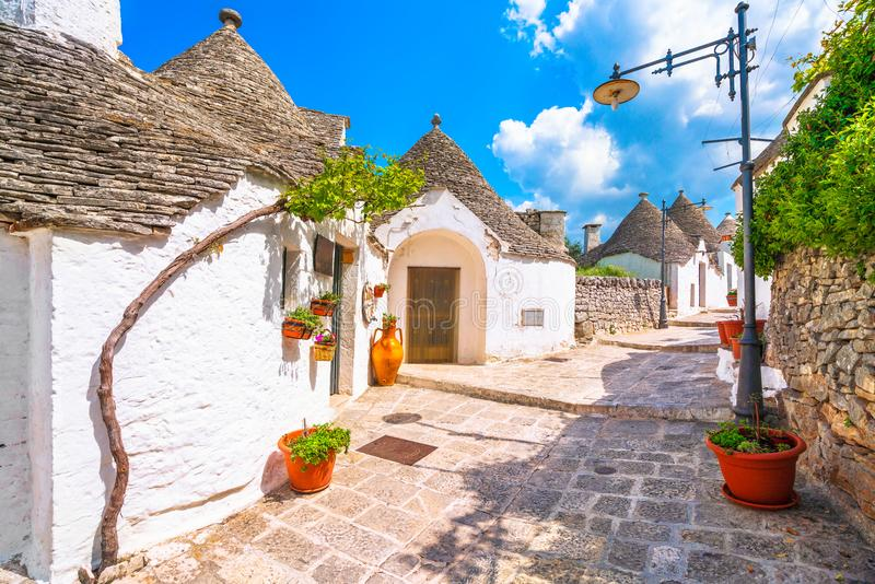 Trulli of Alberobello typical houses. Apulia, Italy. Trulli of Alberobello typical houses street view. Apulia, Italy. Europe royalty free stock image