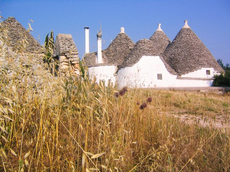 Trulli on summer. Trulli in countryside on summer, Puglia, Italy royalty free stock photo