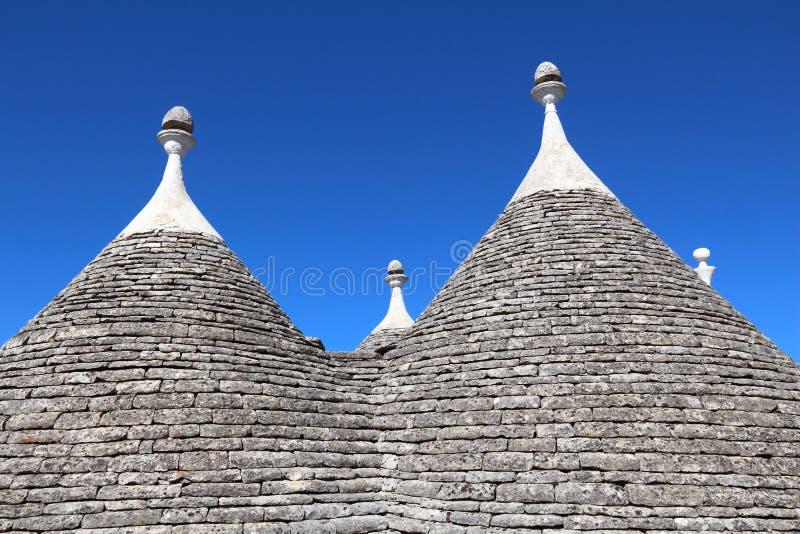Trulli homes. Alberobello traditional houses - trulli. Apulia region of Italy. Italian landmark royalty free stock photo