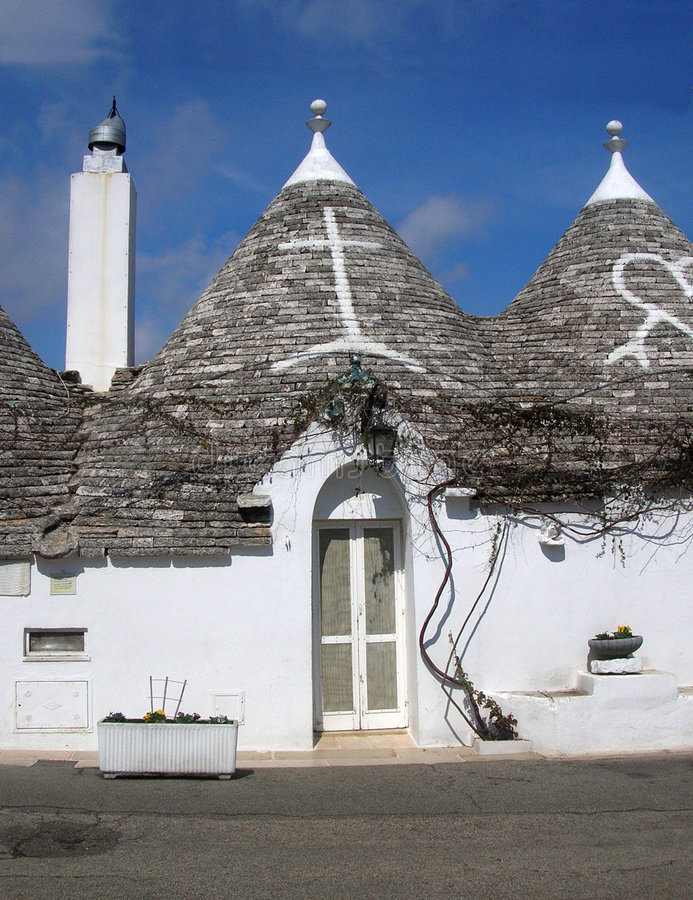 Trulli Houses. Trulli, the ancient and typical rural houses in Alberobello, region of Puglia, Italy royalty free stock photography