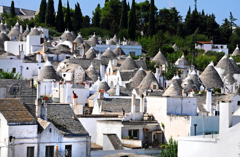 Trulli houses in Alberobello. Alberobello is a small town in the south of Italy. It is famous for the trulli houses and the town is part of the UNESCO world royalty free stock image