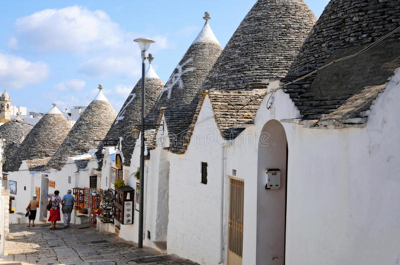 Trulli houses in Alberobello. Alberobello is a small town in the south of Italy. It is famous for the trulli houses. the town is part of the UNESCO world stock image