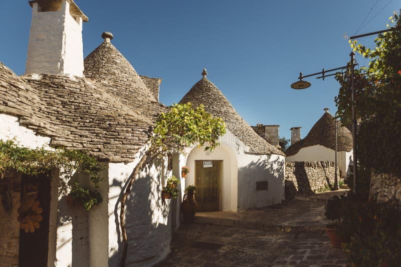 Trulli houses. In Alberobello village, Italy, a UNESCO patrimonium royalty free stock photo