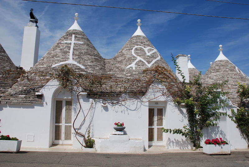 Trulli Roofs with Christian Symbols royalty free stock image