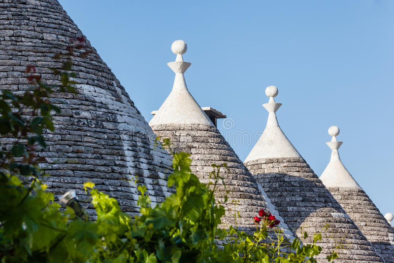 Trulli signs. Ancient residential structures known as Trulli, found in Alberobello, in the south of italy royalty free stock images