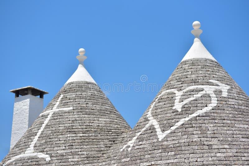 Trulli-Steinhäuser von Alberobello Puglia, Süd-Italien lizenzfreies stockbild