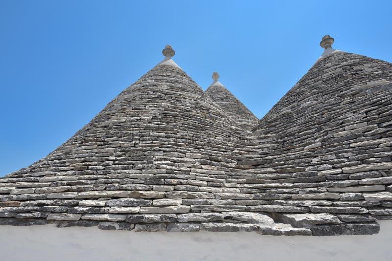 Trulli-Steinhäuser von Alberobello Puglia, Süd-Italien stockfotos