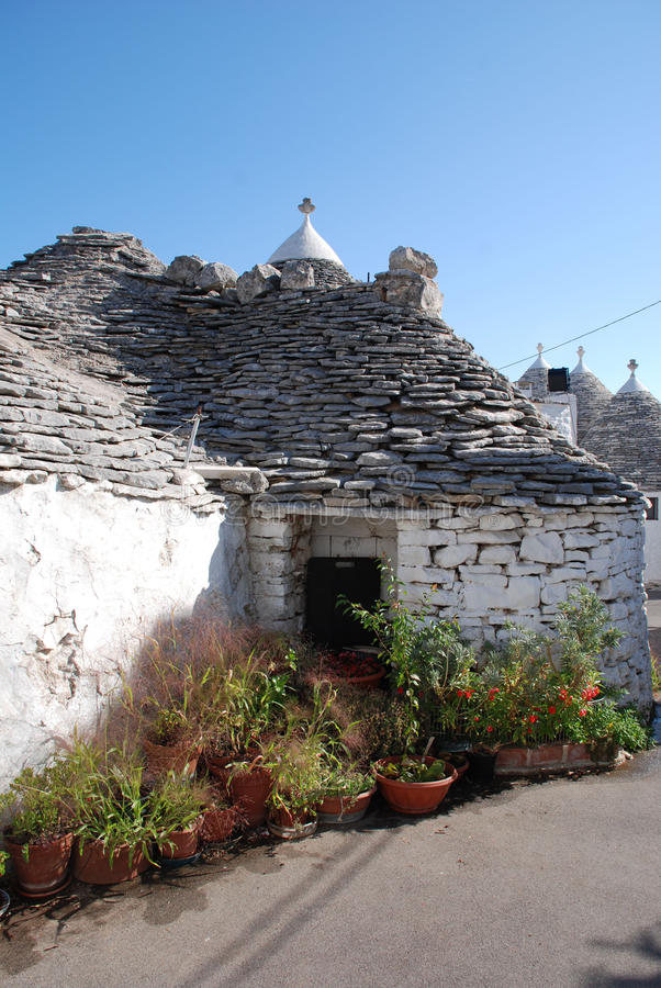 Trullo in Alberobello, Southern Italy. A traditional trullo house in Alberobello in Puglia, southern Italy. The trulli, which are protected under UNESCO World royalty free stock image