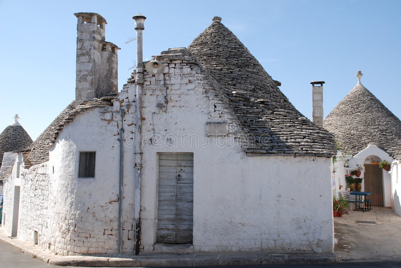 Trullo, Italy. A traditional trullo house in Alberobello in Puglia, southern Italy. The trulli, which are protected under UNESCO World Heritage laws, are royalty free stock photos