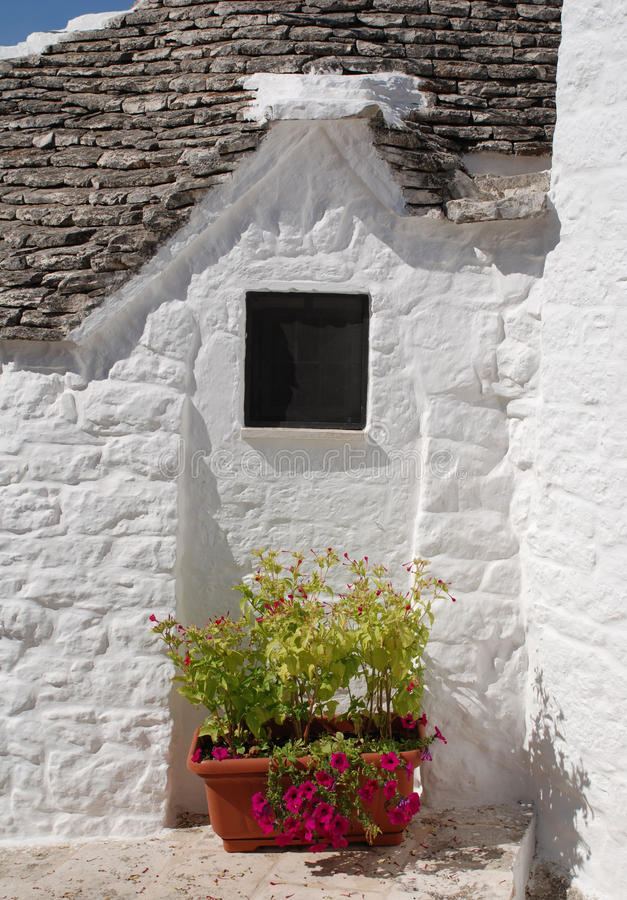 Trullo with Pink Flowered Plant. A traditional trullo house in Alberobello in Puglia, southern Italy. The trulli, which are protected under UNESCO World Heritage stock photography