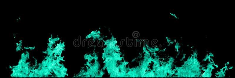 Trullo real, línea verde mar de llamas del fuego aisladas en fondo negro Maqueta en el negro de la pared del fuego stock de ilustración
