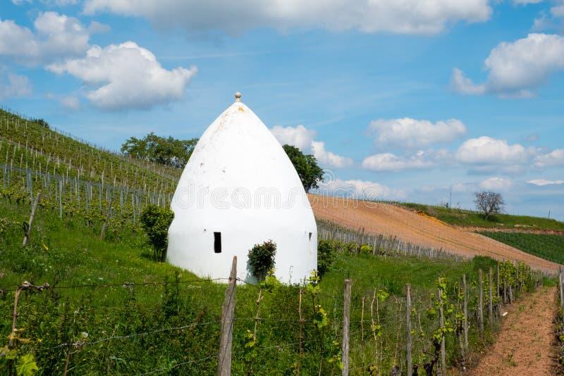 Trullo or round house in Flonheim, Rheinhessen, Rheinland Pfalz, Germany stock photo