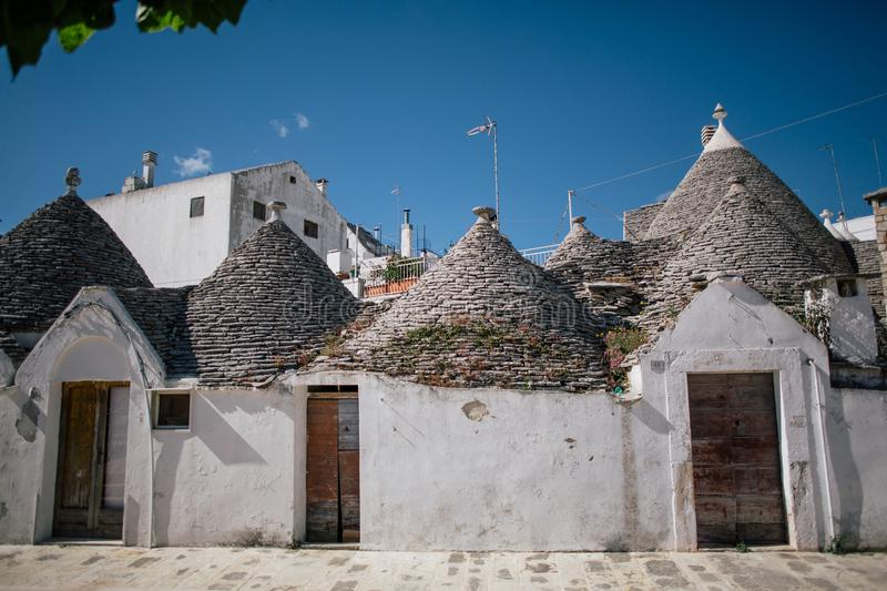 Trullo trulli old wtite city in Italy. Trullo trulli ancient unesco Italy cityscapes summer time europe royalty free stock image