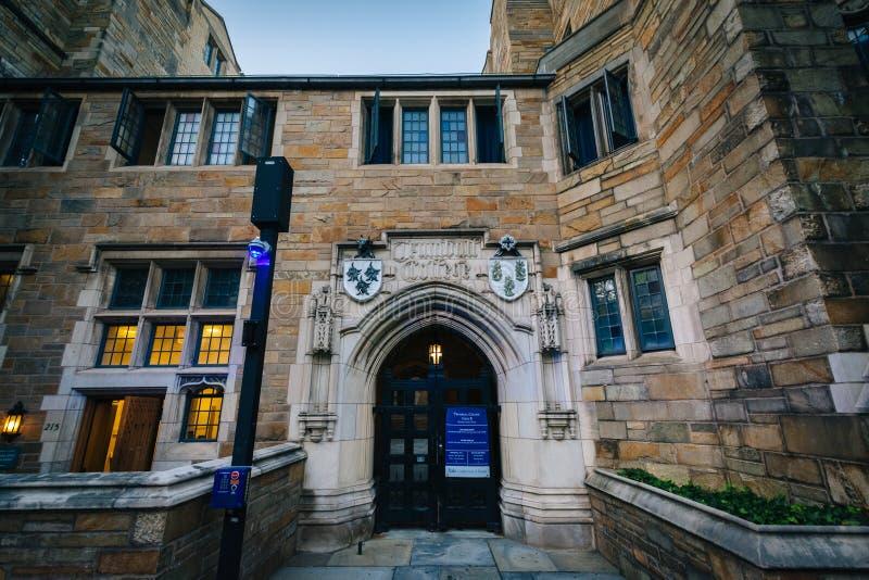 Trumbull högskola, på universitetsområdet av Yale University, i New Haven royaltyfria bilder