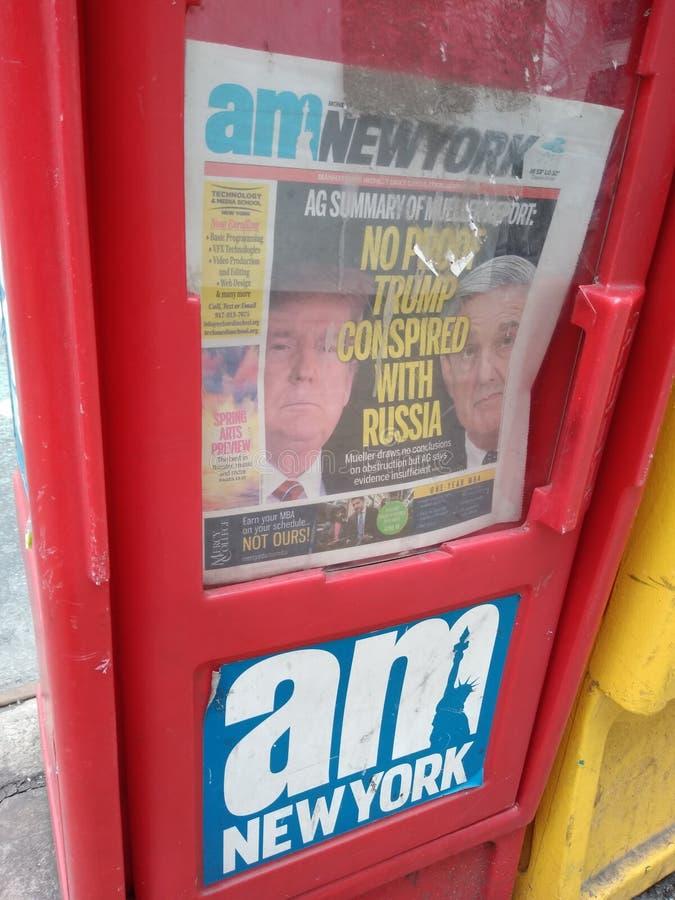 Trumf Amerika, Mueller rapport, massmedia, tidningsrubrik, NYC, NY, USA royaltyfria foton