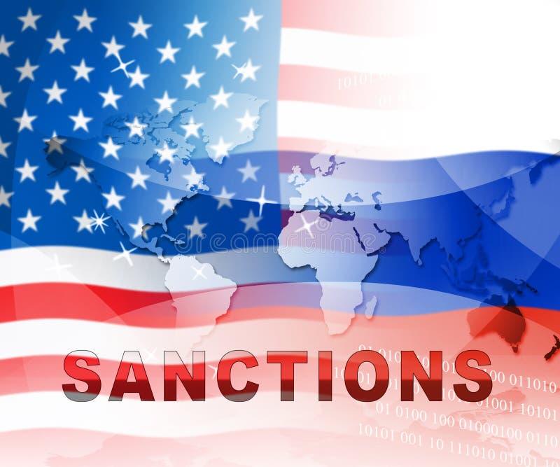 Trumf Ryssland sanktionerar monetärt handelsförbud på rysk federation - den 2d illustrationen vektor illustrationer