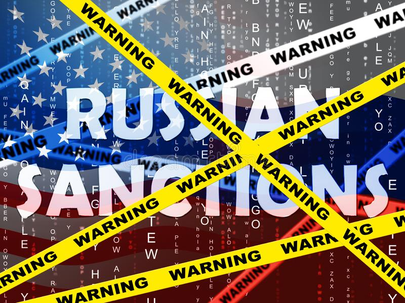 Trumf Ryssland sanktionerar politiskt handelsförbud på rysk federation - illustrationen 3d stock illustrationer
