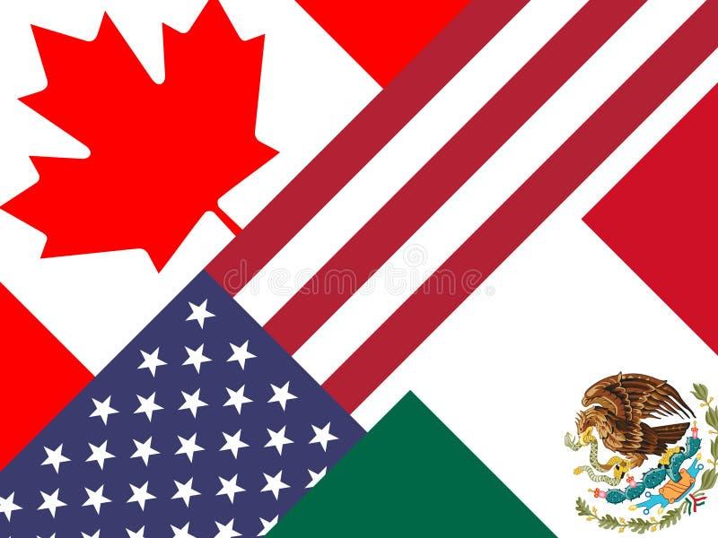 TrumfNafta-flaggor - förhandlingavtal med Kanada och Mexico - 2d illustration vektor illustrationer