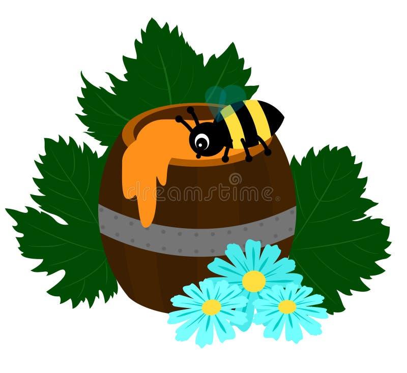 Trumma av honung med biet, tusenskönor och druvasidor stock illustrationer