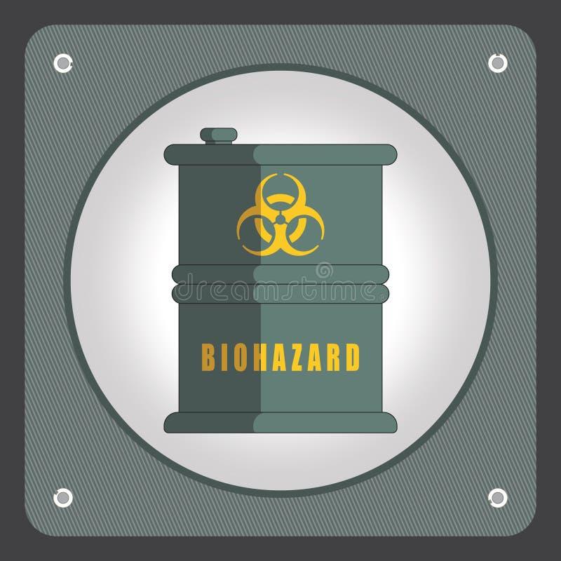 Trumma med farliga kemikalieer Ekologidesignbegrepp med luft-, vatten- och jordförorening Plan symbolsvektorillustration vektor illustrationer