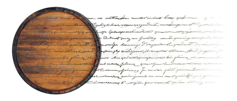Trumma med text (dubbel exponering) arkivbild