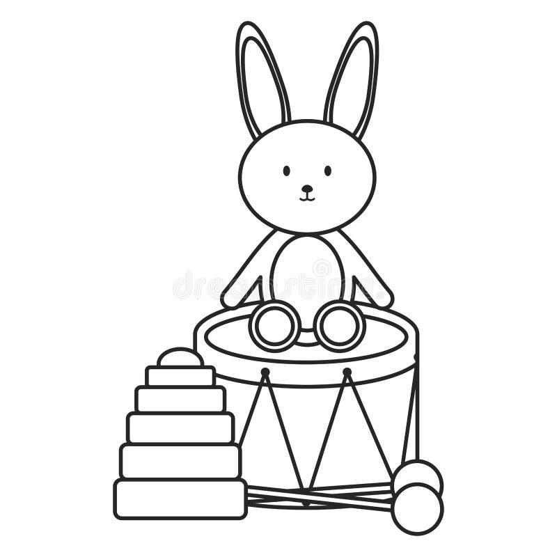 Trumma musikalen och kaninleksaker stock illustrationer